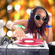Cool afro american DJ in action — Stock Photo #2010746