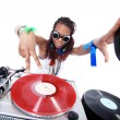 Royalty-Free Stock Photo: Cool afro american DJ in action