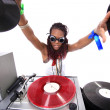 Stock Photo: Cool afro americDJ in action
