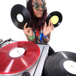 Cool afro dj americano in azione — Foto Stock