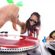 Cool afro american DJ in action - Stock Photo