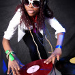Cool afro american DJ in action — Stock Photo #2025197