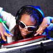 Cool afro american DJ in action — Stock Photo #2025450