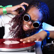 Cool afro american DJ in action — Foto de Stock