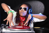 Cool afro american DJ in action — Stock Photo