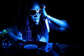Afro american DJ blue light — Stock Photo