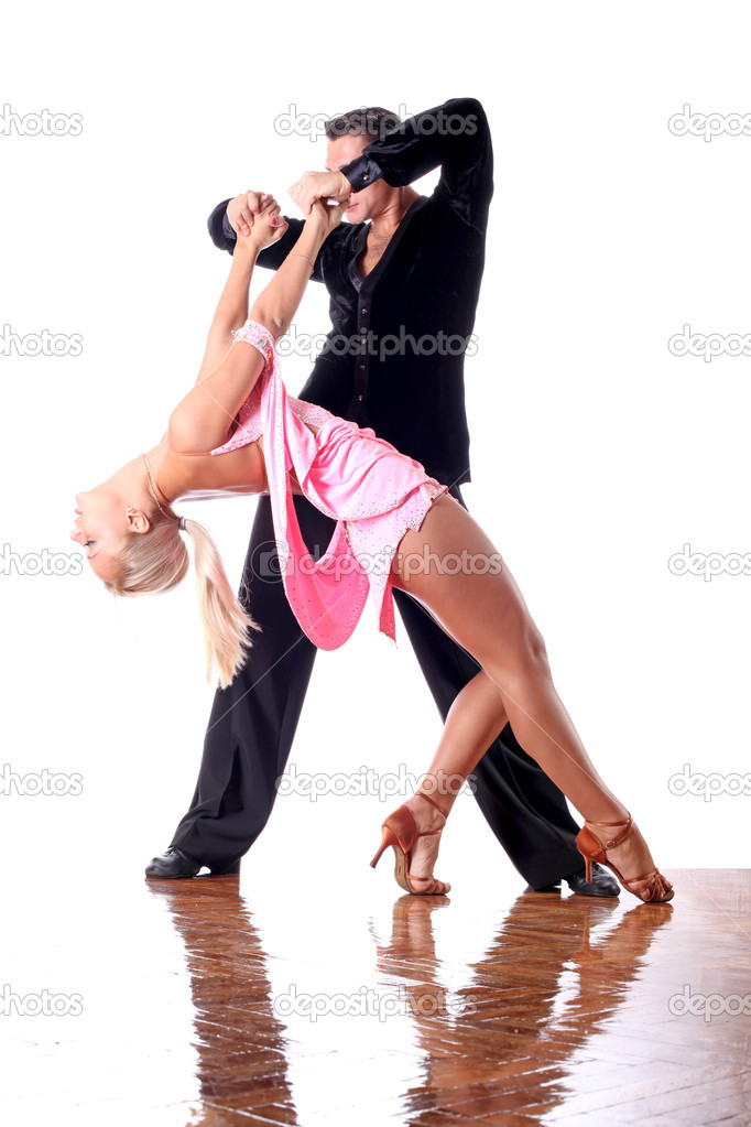 Dancers in ballroom against white background — Stock Photo #2044801