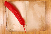 Vintage message book with red feather pen on table — Stock Photo