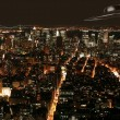 UFO under New York in nighttime — ストック写真