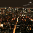 Stock Photo: UFO under New York in nighttime