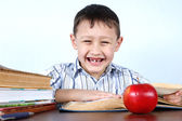 Smiling schoolboy without several tooths — Stock Photo