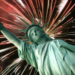 Statue of Liberty and fireworks — Stock Photo #2209094