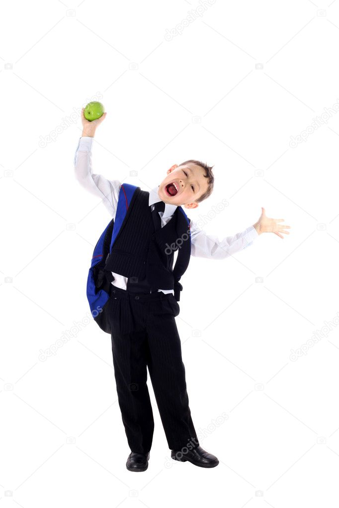 Funny schoolboy with backpack and apple isolated on white  Stock Photo #2209382