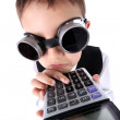 Learning - boy with calculator — Stock Photo