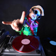 Cool kid DJ in action — Stock fotografie