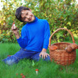 Foto Stock: Boy with mushrooms