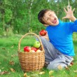 Little boy posing with apples — Stock Photo