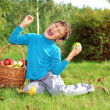 Stock Photo: Boy with apples