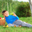 Dreaming kid with apples — Stock Photo #2239022