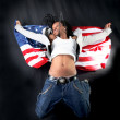 Afro-american dancer in jump — Stock Photo