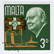 Постер, плакат: Stamp with Winston Churchill