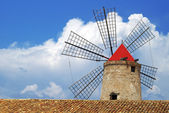 Old Italy ,Sicily, windmill at Trapani — Stock Photo