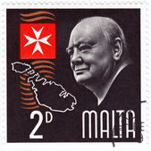Stamp shows Winston Churchill — Stock Photo