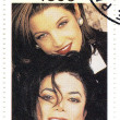Stamp with Michael Jackson with wife — Stock Photo