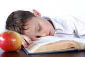 Boy sleeping on book at apple — Stock Photo