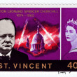 Stock Photo: Stamp shows Winston Churchill
