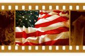 Vintage 35mm con la vieja bandera de los e.e.u.u — Foto de Stock