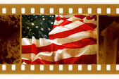 Vintage 35mm with old USA flag — Foto de Stock