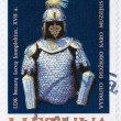 Stamp shows old knight panoply — Stock Photo