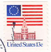 Stamp shows Flag Over Independence Hall — Stock Photo
