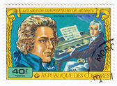 Stamp shows Wolfgang Amadeus Mozart — Stock Photo