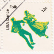 Stamp shows dancer a Folk — Stock Photo