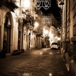 Syracuse, Sicily night street - Stock Photo