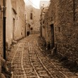 Old Italy ,Sicily, fog in Eriche city — Stock Photo #2454475
