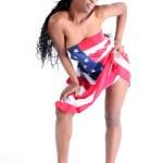 jonge Afro-Amerikaanse vrouw in usa vlag — Stockfoto