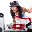Cool DJ in action isolated on white — Stock Photo #2465909