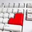 Keyboard with red button — Stock Photo