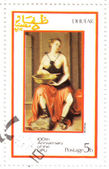 Stamp shows pic to painter Moroni — Stock Photo