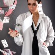 Woman with cards — Stock Photo