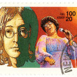Stamp John Lennon and Ella Fitzgerald — Stock Photo