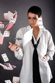 Woman with cards — Stockfoto