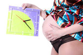 Expectant mother 40 weeks with clock — Stockfoto