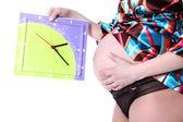 Nastávající matka 40 týdnů s hodinami — Stock fotografie