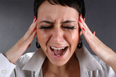 Screaming woman with tears — Stock Photo