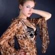Woman in dress with leopard style — Stock Photo