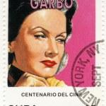 Vintage stamp with Greta Garbo — Stock Photo